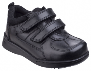 Hush Puppies Liam Kids Black Leather Shoes